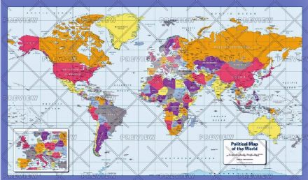 Political Map of the World - Colour Blind - Small by Cosmographics